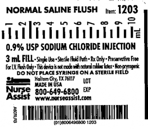 One of the recalled syringe labels.  Product Code: 1203 - i.v. Flush Syringe, 3ml fill