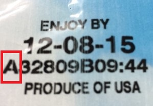 """Salads can be identified by the letter """"A"""" at the beginning of the manufacturing code found on the package."""